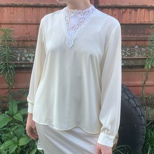 70's Does Victorian Cream Blouse